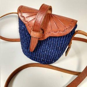 Vintage tooled leather & straw crossbody